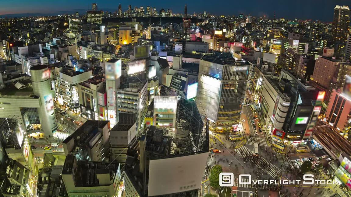 Tokyo  Japan Zooming Tokyo cityscape time lapse over Shibuya at night.