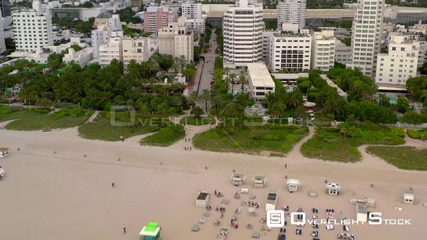Aerial flying towards The Redbury Hotel Miami Beach FL
