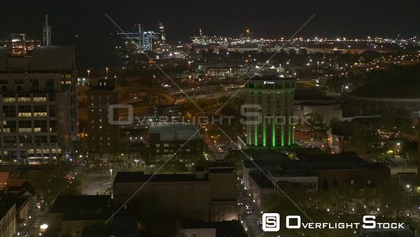 Mobile Alabama tight panning frame of the bright city lights at night downtown  DJI Inspire 2, X7, 6k