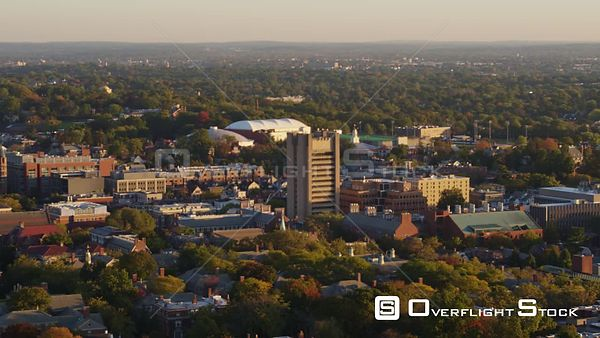 Providence Rhode Island Panoramic college campus cityscape view at sunrise