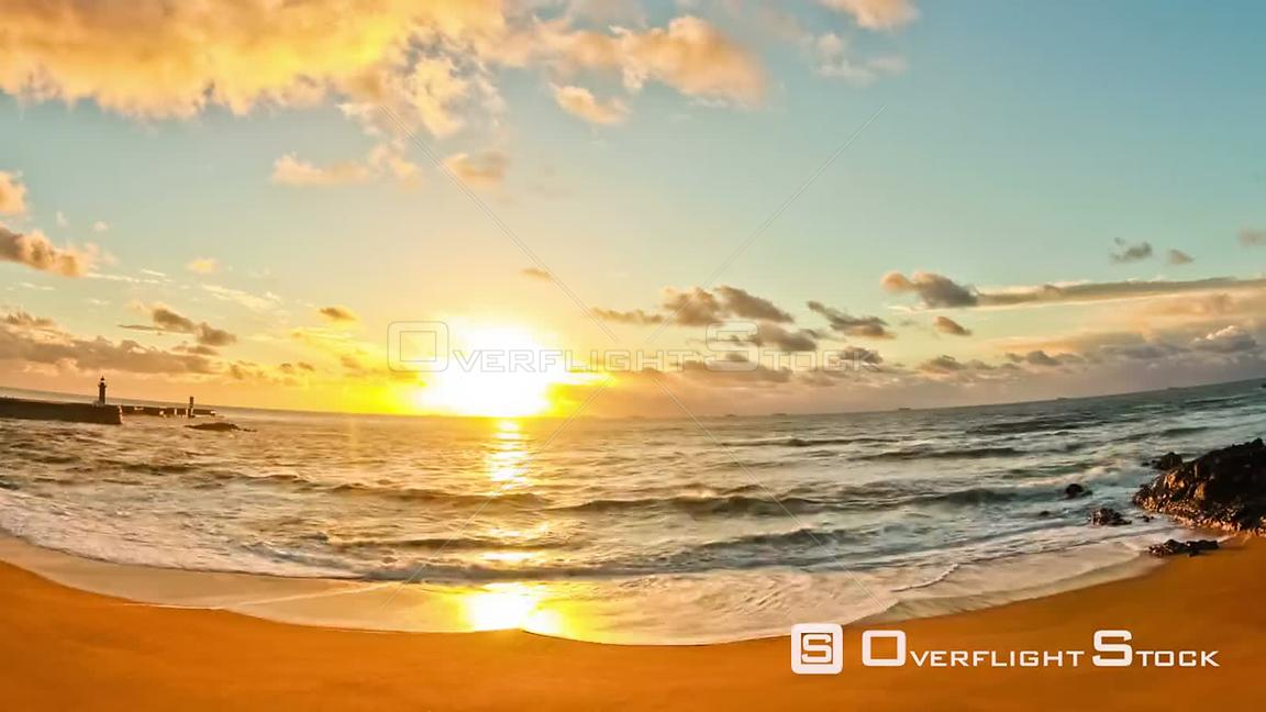 Sunset time lapse of beach in Porto, Portugal.