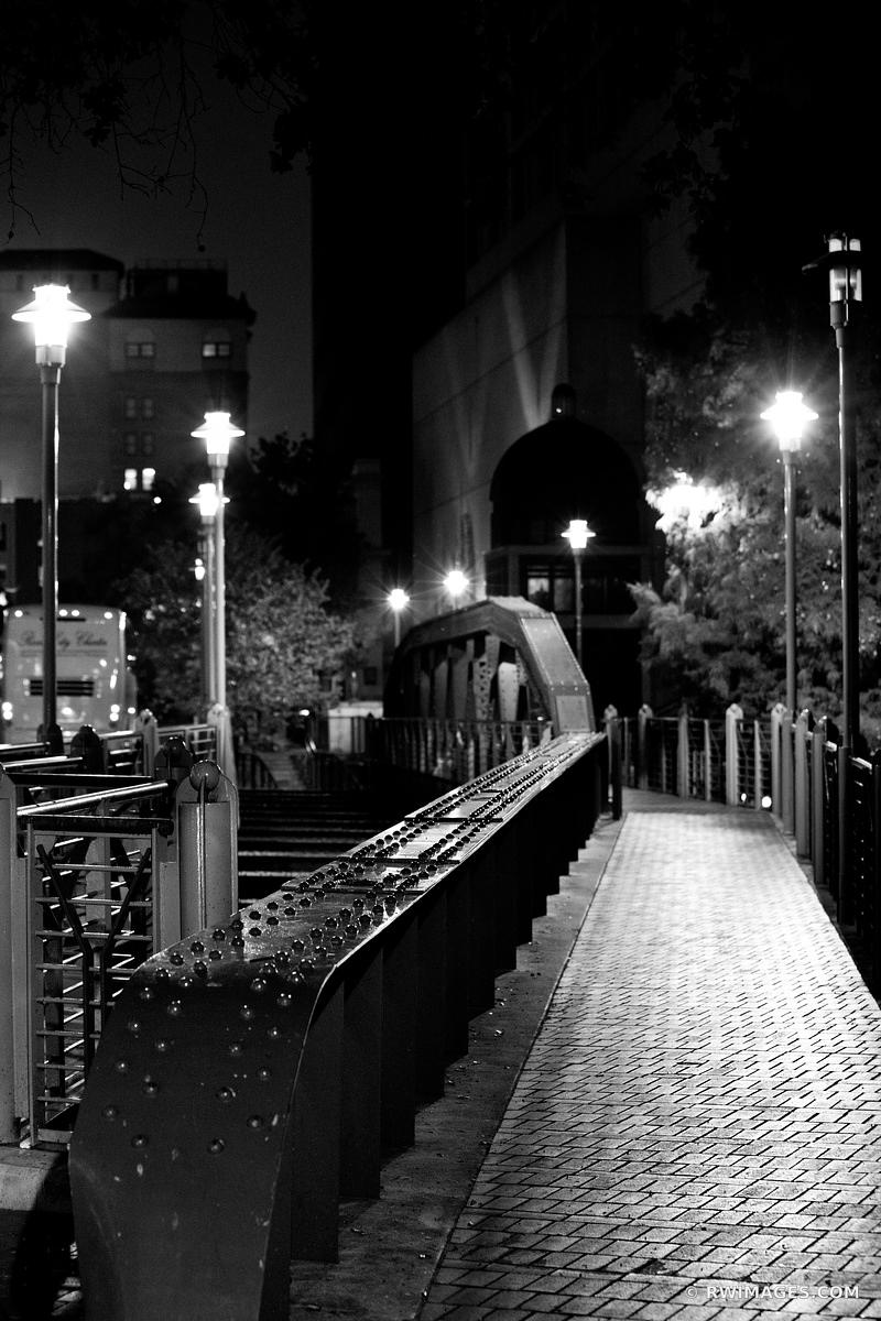 RIVER WALK AT NIGHT SAN ANTONIO TEXAS BLACK AND WHITE VERTICAL