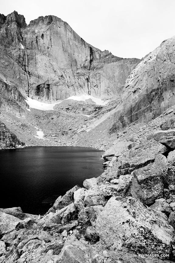CHASM LAKE AND LONGS PEAK DIAMOND FACE ROCKY MOUNTAIN NATIONAL PARK COLORADO BLACK AND WHITE VERTICAL