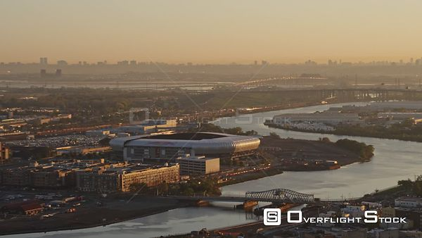 New Jersey Newark Aerial Cityscape Arena NYC Sunrise
