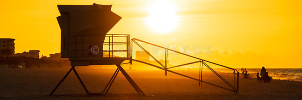 Pensacola Beach Lifeguard Tower Two Sunrise Panorama Photo