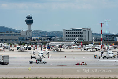 Athens International Airport Apron With Planes and Traffic Control Tower Greece