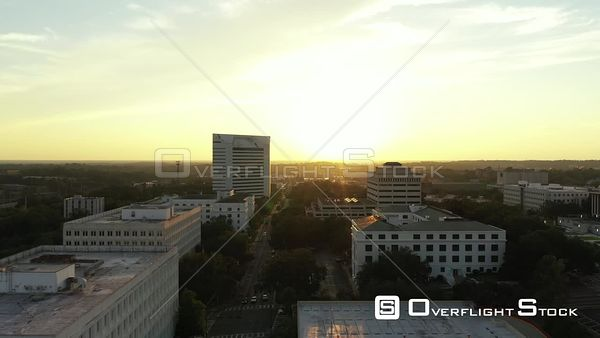 Aerial drone video Downtown Tallahassee FL USA at sunset