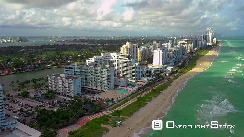 Aerial drone descent Miami Beach