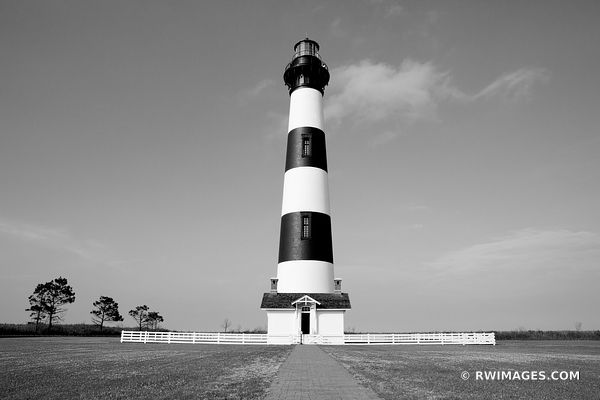 BODIE ISLAND LIGHTHOUSE NAGS HEAD OUTER BANKS NORTH CAROLINA BLACK AND WHITE