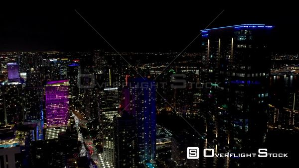 Aerial Flyover and Tilt Down Drone Footage City at Night