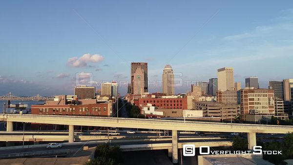 Early Moring Drone Aerial View of Downtown Louisville Kentucky
