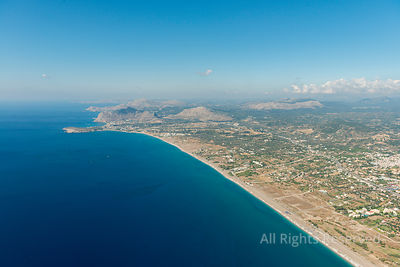 Aerial Image of the Coast of Island of Rhodes, Near the Village of Afantou With View South on Kolympia Greece