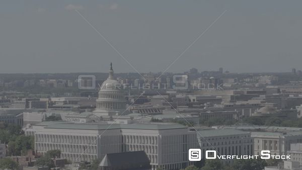 Fast Trucking Shot of the Capitol Building With Parallax Washington DC Drone Aerial View