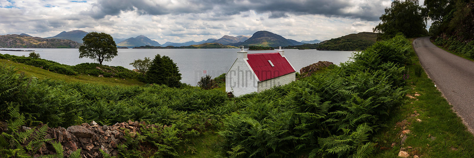 Red-Roofed Cottage  Looking across Upper Loch Torridon