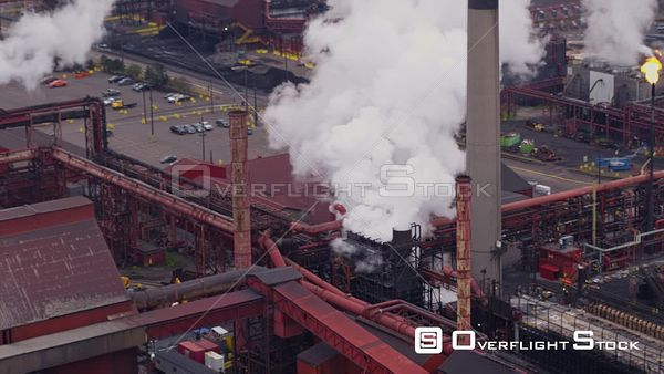Hamilton Industrial Sector Ontario Panning birdseye detail to wide view of Industrial Sectors