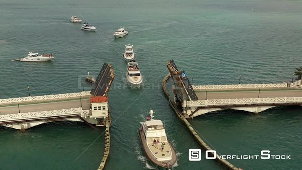 Aerial Video Yachts Waiting to Pass Under a Drawbridge in Miami Beach