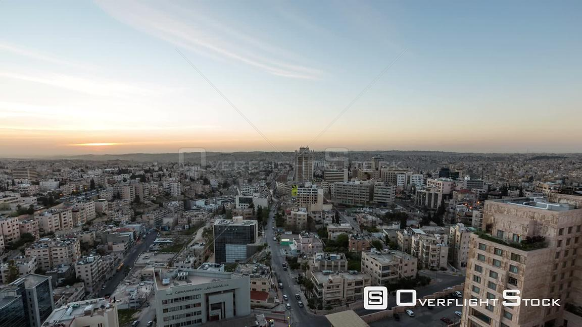 Cityscape sunrise time lapse of Amman Jordan