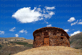 Round building called a suntur wasi at Inca site of Urco / Urqo, near Calca, Cusco Region, Peru