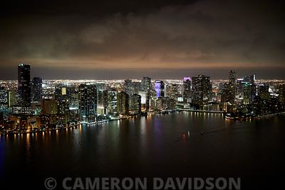 Aerial of Miami, Florida at night