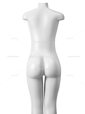 Female mannequin seen on her back
