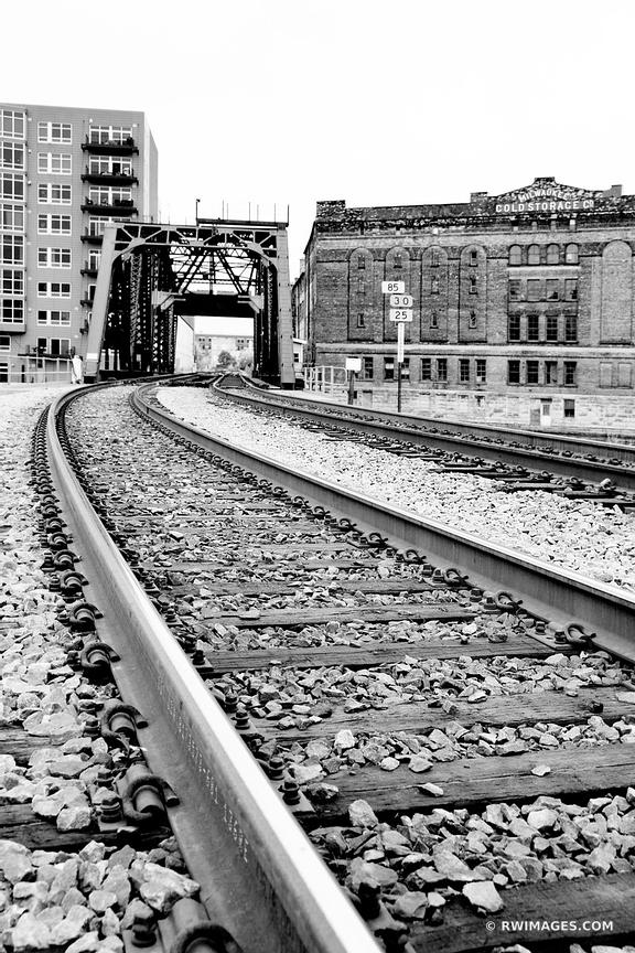 RAILROAD TRACKS HISTORIC THIRD WARD MILWAUKEE WISCONSIN BLACK AND WHITE VERTICAL