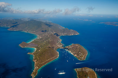 The bay of Sopers Hole on the island of Tortola. British Virgin Islands Caribbean