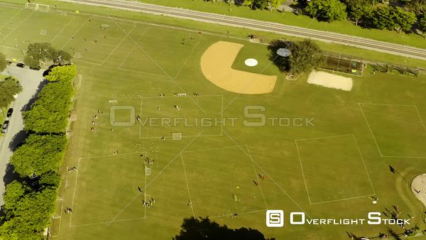 Childrens Soccer Game Practice Camp Aerial Drone Video