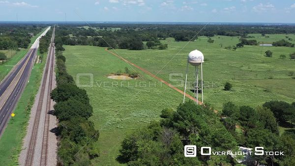 Rural Water Tower and Pastures, Gause, Texas, USA