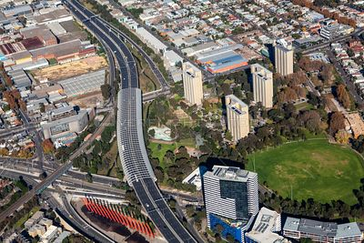 Aerial view of Kensington in Melbourne, Victoria, Australia.