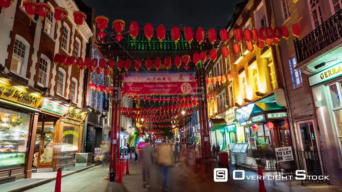 Time lapse zoom in view of Chinatown in London with street decorations at night
