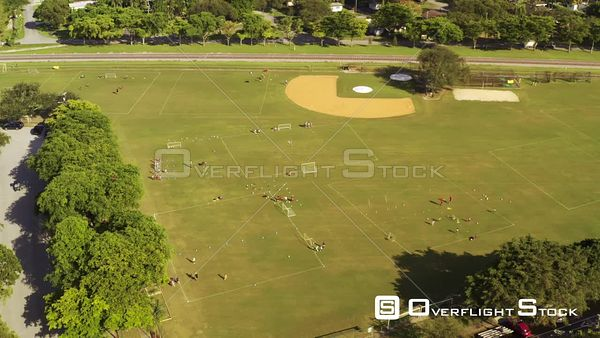 Aerial Video Youth Sports Soccer Camp Practice in the Park Field