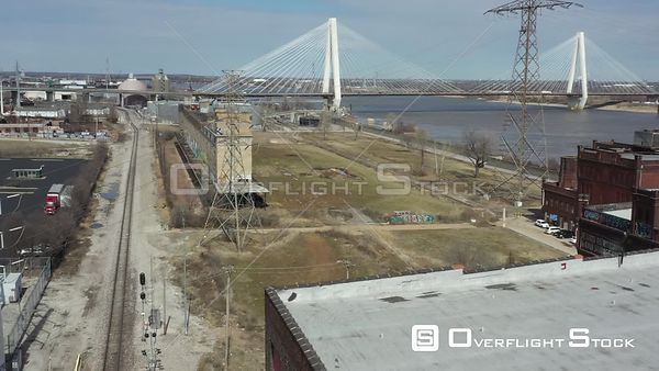 Drone Video Brick Old Brick Warehouses and Industry St Louis Missouri
