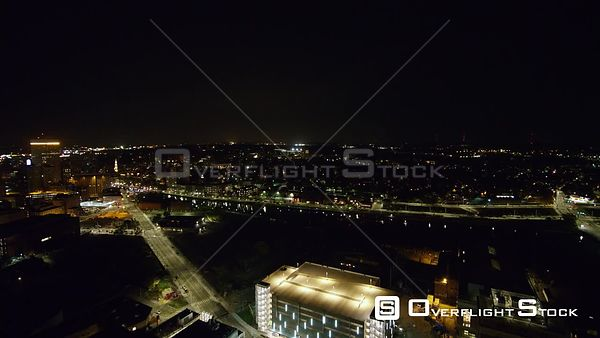 Providence Rhode Island Low descending nighttime panoramic cityscape rotating around Jewelry district