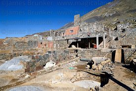 Wooden boxes for washing and separating ore at partly abandoned mine at Kaluyo, La Paz Department, Bolivia