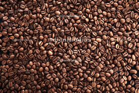 Roasted coffee beans seen from above