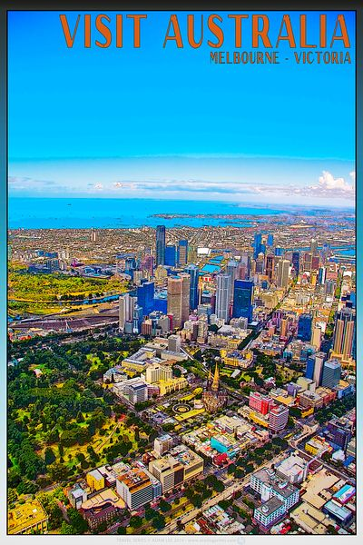 Melbourne from the air travel poster