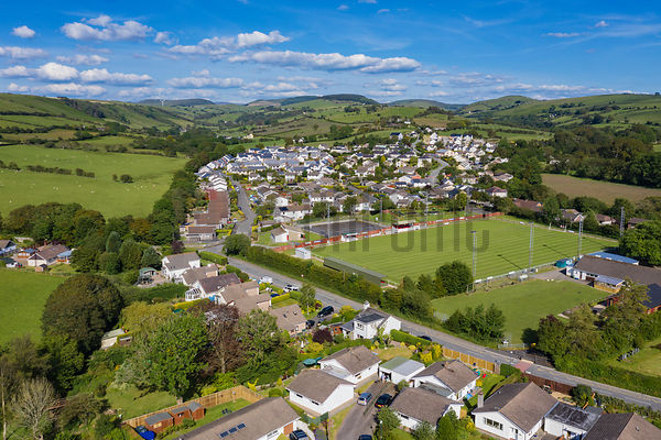 Aerial View of the Welsh Village of Penrhyncoch