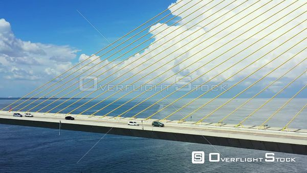 Aerial video Sunshine Skyway steel cable suspension bridge over Tampa Bay Florida