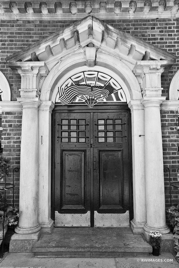 OLD DOOR PHILADELPHIA PENNSYLVANIA BLACK AND WHITE VERTICAL
