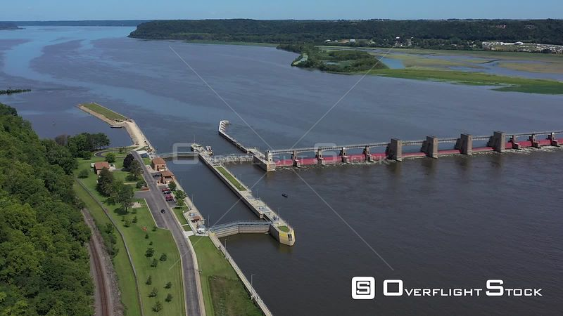 Mississippi River Valley and a lock and dam, Dubuque, Iowa, USA