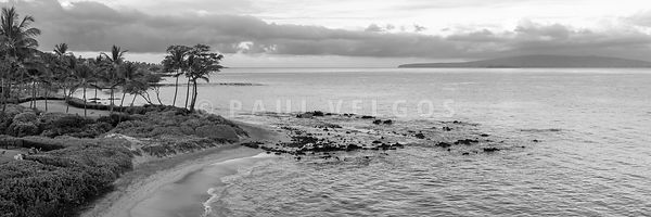 Panoramic Maui Aerial Photography in Black and White