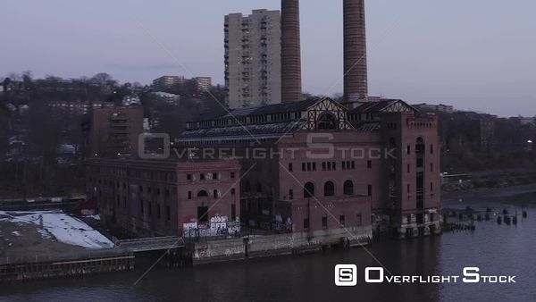 Abandoned Power Plant Building on the Hudson River Yonkers New York Drone Aerial View