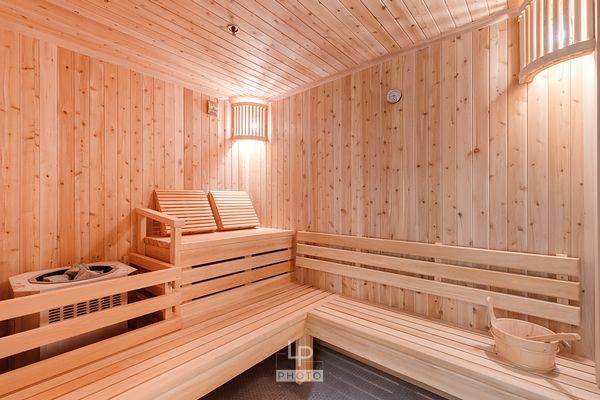 Sauna of a new condo complex in downtown Montreal