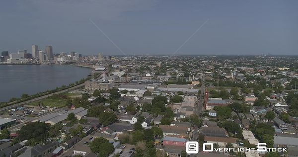 New Orleans Louisiana Aerial Panoramic view of Bywater neighborhood and river with downtown backdrop