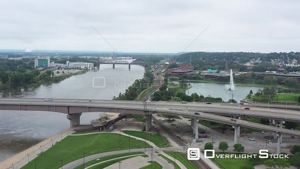 Missouri River and a fountain, Omaha, Nebraska, USA