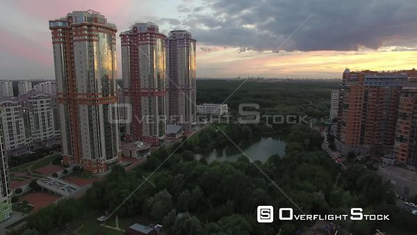 Sunset Fly by the Urban Moscow Cityscape. Moscow Russia Drone Video View