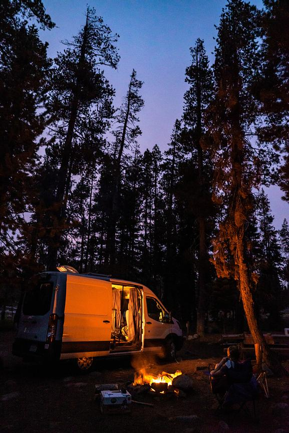 Van life camping in the California Sierras. Photo by Jason Tinacci