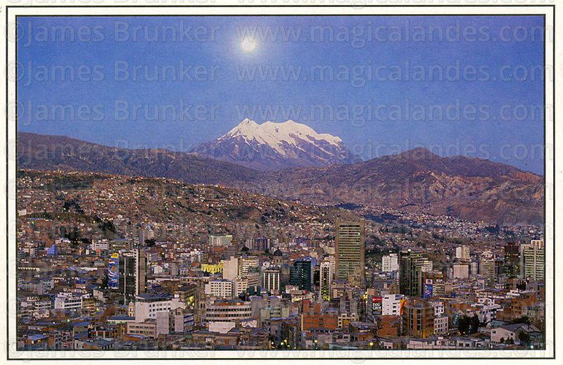 #140 Full moon rise over La Paz and Mt. Illimani (6439m)