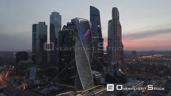 Dusk Orbit Flight Moscow Business City Center. Moscow Russia Drone Video View