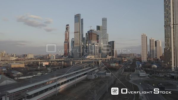 Early Sunset Landing With MBCC in View. Moscow Russia Drone Video View